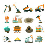 Uppsättning för symboler för coalminingutrustninglägenhet Royaltyfri Bild