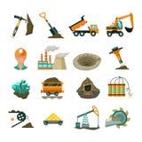 Uppsättning för symboler för coalminingutrustninglägenhet Arkivbilder