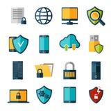 Uppsättning för symboler för dataskydd stock illustrationer