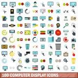 uppsättning för 100 symboler för datorskärm, lägenhetstil Royaltyfria Foton