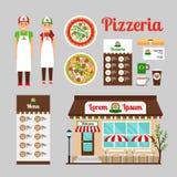 Uppsättning för symboler för design för pizzakaféframdel royaltyfri illustrationer