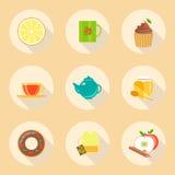 Uppsättning för symboler för design för tetidlägenhet mallbeståndsdelar Arkivfoton