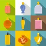 Uppsättning för symboler för doftflaska, lägenhetstil Royaltyfri Fotografi