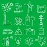 Uppsättning för symboler för elektricitets- och energisymbolöversikt Arkivbilder