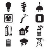 Uppsättning för symboler för elektricitetsmaktsvart royaltyfri illustrationer