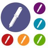 Uppsättning för symboler för färgplockarepipett vektor illustrationer