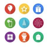 Uppsättning för symboler för födelsedagparti Royaltyfri Bild