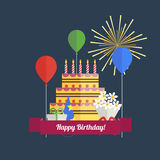 Uppsättning för symboler för födelsedagparti Arkivfoton
