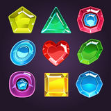 Uppsättning för symboler för för tecknad filmvektorädelstenar och diamanter royaltyfri illustrationer