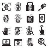 Uppsättning för symboler för fingeravtrycksäkerhetssystem Arkivbilder