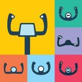Uppsättning för symboler för flygplankontrollhjul Arkivfoto