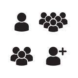 Uppsättning för symboler för grupp för användareprofil Royaltyfria Foton