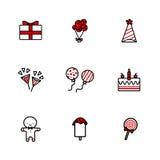 Uppsättning för symboler för handteckningsklotter av födelsedagbeståndsdelar vektor illustrationer