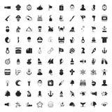 Uppsättning för symboler för hav 100 universell för rengöringsduk och mobillägenhet Arkivbild