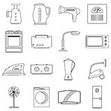Uppsättning för symboler för hushållanordningar, översiktsstil Royaltyfri Fotografi
