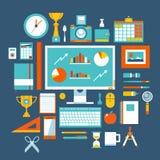 Uppsättning för symboler för illustration för plan designstil modern av kontorsobjekt och hjälpmedel Arkivbilder