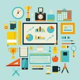 Uppsättning för symboler för illustration för plan designstil modern av kontorsobjekt och hjälpmedel Royaltyfria Foton