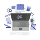 Uppsättning för symboler för illustration för plan designstil modern av objekt och hjälpmedel för grafisk formgivare, olik objekt stock illustrationer