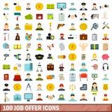 uppsättning för 100 symboler för jobberbjudande, lägenhetstil Arkivfoton