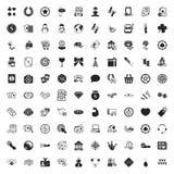 Uppsättning för symboler för kasino 100 universell för rengöringsduk och mobillägenhet Royaltyfri Bild