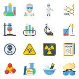 Uppsättning för symboler för kemilägenhetfärg vektor illustrationer