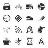 Uppsättning för symboler för kontor 16 universell för rengöringsduk och mobil vektor illustrationer