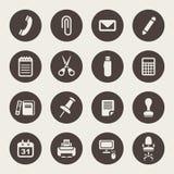 Uppsättning för symboler för kontorstillförsel Royaltyfri Bild