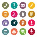 Uppsättning för symboler för kontorstillförsel stock illustrationer