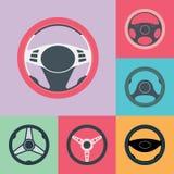 Uppsättning för symboler för lägenhet för bilstyrninghjul Royaltyfri Bild