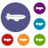 Uppsättning för symboler för litet luftskeppflygplanflyg Arkivbilder