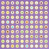 uppsättning för 100 symboler för livsmedelsbutikshopping i tecknad filmstil Arkivfoton