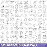 uppsättning för 100 symboler för logistical service, översiktsstil royaltyfri illustrationer
