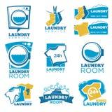 Uppsättning för symboler för mall för vektor för tvätteriservice av linne, tvagningmaskin och tvättmedel royaltyfri illustrationer