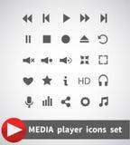 Uppsättning för symboler för massmediaspelare multimedior isolerat också vektor för coreldrawillustration stock illustrationer