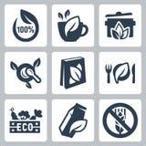 Uppsättning för symboler för organisk mat för vektor Fotografering för Bildbyråer
