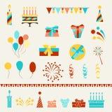 Uppsättning för symboler för parti för lycklig födelsedag Arkivbilder