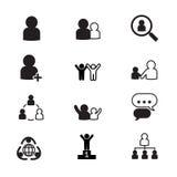 Uppsättning för symboler för personalresursledning Arkivfoto
