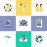 Uppsättning för symboler för pictogram för sommarsemester stock illustrationer