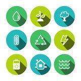 Uppsättning för symboler för plan vektoreco mångfärgad Royaltyfri Foto