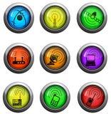 Uppsättning för symboler för radiosignal Arkivbild