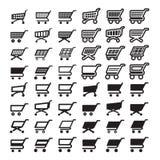 Uppsättning för symboler för rengöringsduk för shoppingvagn Royaltyfria Bilder