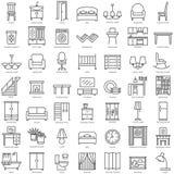 Uppsättning för symboler för rummöblemang linjär arkivfoton
