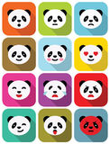 Uppsättning för symboler för sinnesrörelser för lägenhet för pandabjörn. Arkivbild