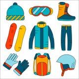 Uppsättning för symboler för snowboard för vektor linjär utrustning färgad Symboler för aktiviteter för vintersport i plan stil Arkivfoto