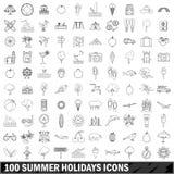 uppsättning för 100 symboler för sommarferier, översiktsstil Royaltyfria Bilder