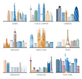 Uppsättning för symboler för stadshorisontlägenhet Arkivfoton