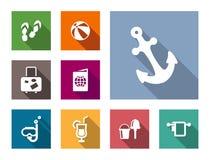 Uppsättning för symboler för strand- och lopplägenhetstil Royaltyfri Fotografi