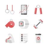 Uppsättning för symboler för styrkautbildningslägenhet Arkivbilder