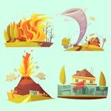 Uppsättning för symboler för tecknad film 2x2 för naturkatastrof Retro stock illustrationer