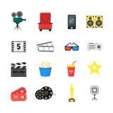 Uppsättning för symboler för tecknad filmbiofärg vektor royaltyfri illustrationer